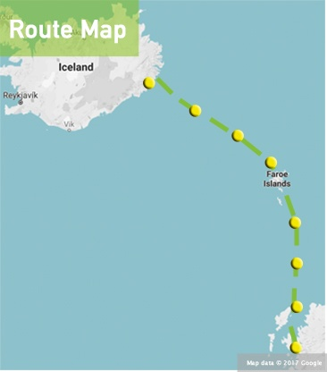 route map iceland to scotland oban