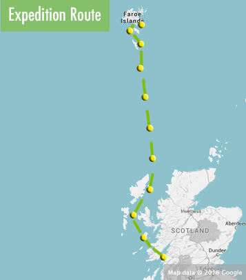 Scotland to Faroes route map