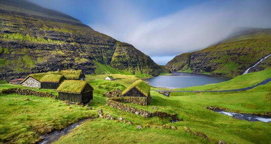 Grass roofed houses in Faroes