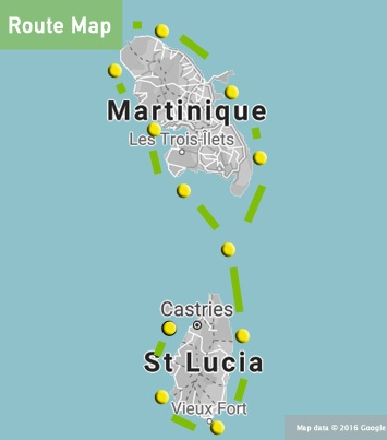 st lucia martinique sailing route map
