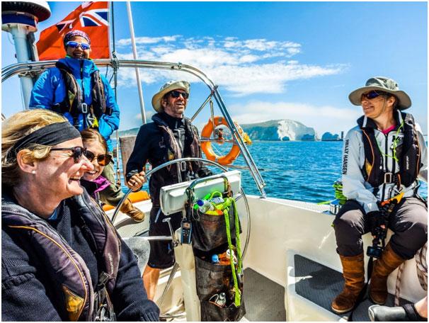 sailing in the solent - happy crew