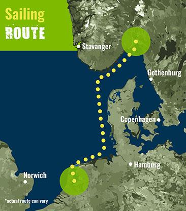 Amsterdam to Oslo- Sailing Route 72 dpi
