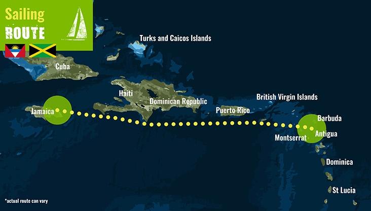 Antigua to Jamaica- Sailing Route 72 dpi
